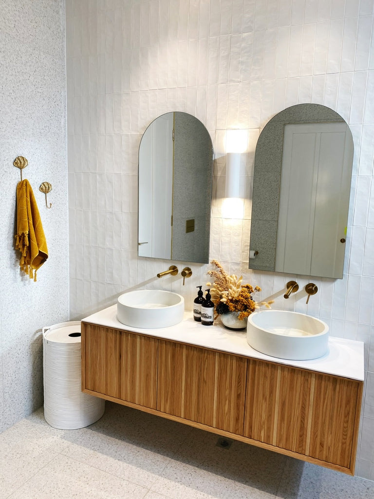 Our original clam shell hooks in Jasmin and Luke's master en-suite