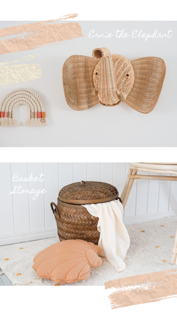 Ernie the Rattan Elephant and Tobacco woven baskets