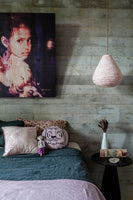 Teardrop Lantern in Pink Palm Linen - The Jungle Trader