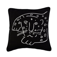 Muka Leopard Cushion in Black