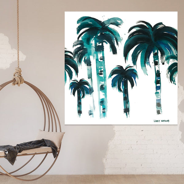 'Flat Fan Palm' Print on Canvas - By Libby Watkins