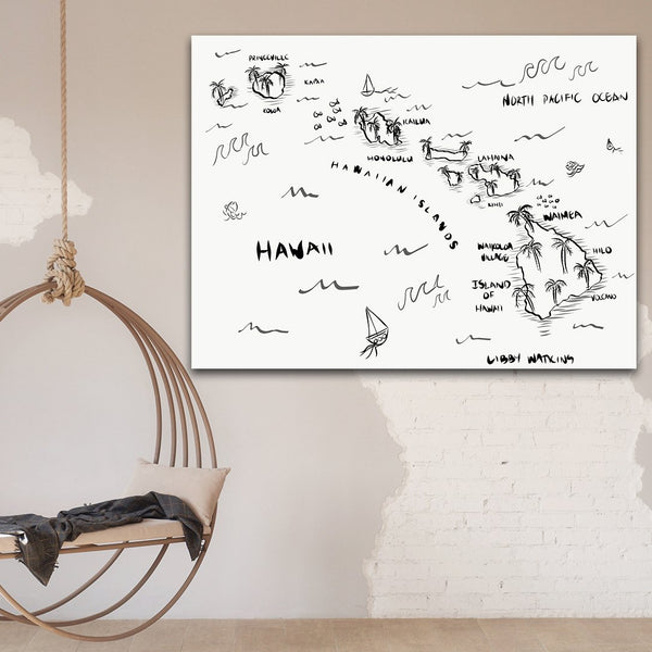 'Hawaii Pirate Map' Print on Canvas - By Libby Watkins