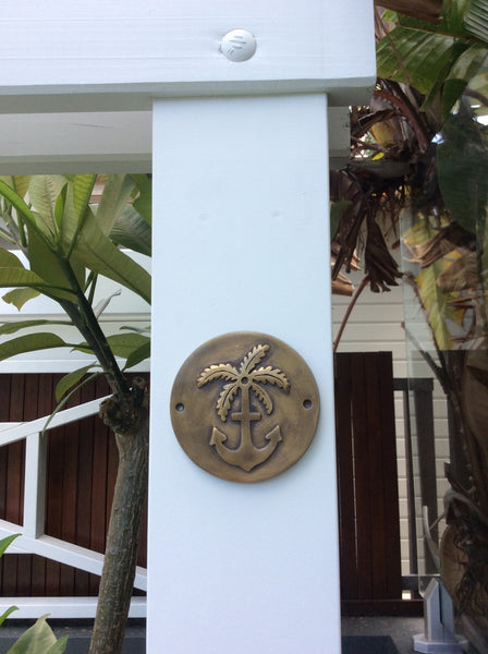 Round Brass Plaque Anchor and Palm