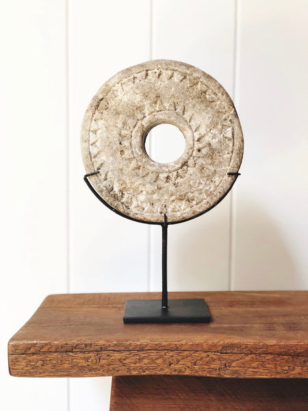 Sumba Stone Disc on Stand