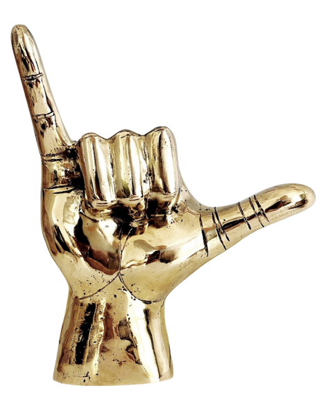 Big Gold Brass Shaka Hand
