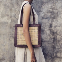The Ubud - Rattan and Leather Tote