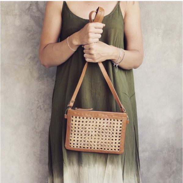 Gili Rattan and Leather Bag