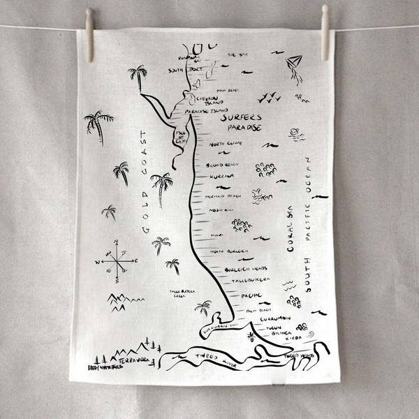 Gold Coast Pirate Map Tea Towel - by Libby Watkins and Pineapple Traders