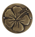 brass hibiscus plaque