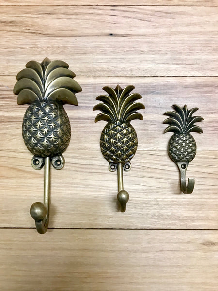 Brass pineapple hooks small, medium and large