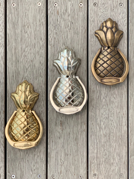 Classic Pineapple Door Knocker in Gold, Silver and Antique finishes.