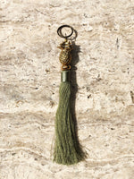 brass pineapple tassel keyring - Sage Green