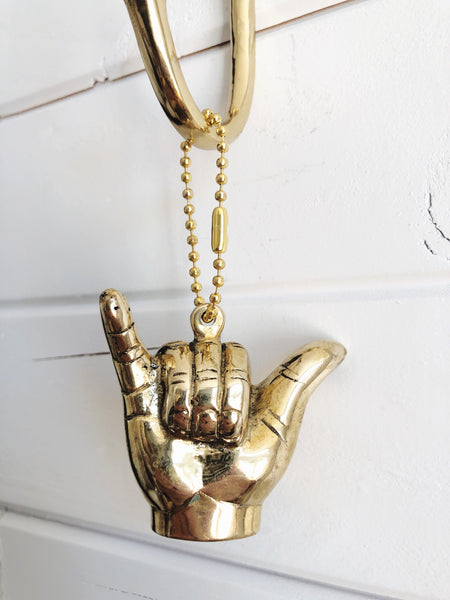 Brass Shaka Keyring - By Pineapple Traders