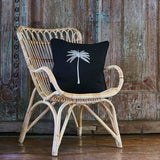 Oasis Palm Cushion in Black with White Palm