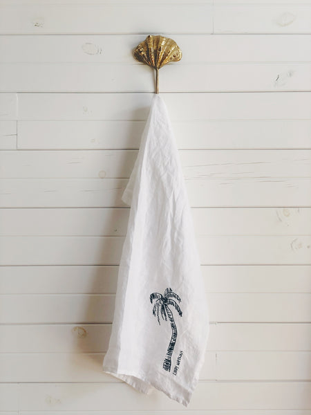 white - Linen Tea Towel Ink Palm by Libby Watkins