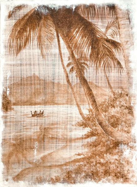 Vintage Tahiti - origibal oil on canvas by Lara Ford