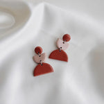 Shape Clay Drop earrings- Brick and Dusty Pink
