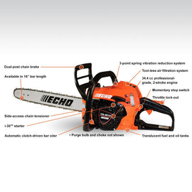 16 in. 34.4 cc Gas 2-Stroke Engine Chainsaw