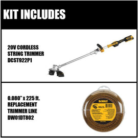 20V MAX Lithium-Ion Brushless Cordless String Trimmer Kit with Bonus 0.080 in. x 225 ft. Replacement Line Included
