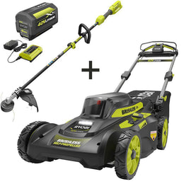 20 in. 40-Volt Brushless Lithium-Ion Cordless Walk Behind Self-Propelled Mower and Trimmer w/6.0 Ah Battery and Charger