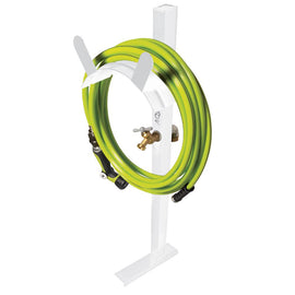 AQUA JOE 125 ft. Capacity Garden Hose Stand with Brass Faucet, White