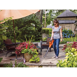 BLACK+DECKER 130 MPH 100 CFM 20-Volt MAX Lithium-Ion Cordless Handheld Leaf Sweeper w/ 2.0Ah Battery and Charger