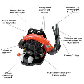 ECHO 216 MPH 517 CFM 58.2cc Gas 2-Stroke Cycle Backpack Leaf Blower with Tube Throttle