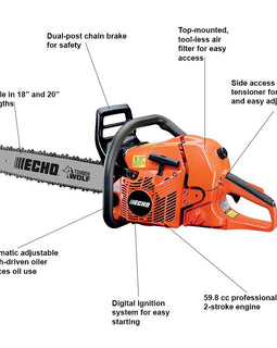 ECHO 59.8 cc Gas 2-Stroke Cycle Chainsaw (Select Inches, 18, 20 or 24)
