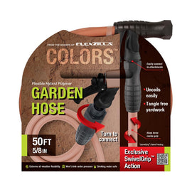 Flexzilla 5/8 in. x 50 ft., 3/4 in. x 11-1/2 in. GHT Fittings Colors Garden Hose with SwivelGrip Connections in Red Clay