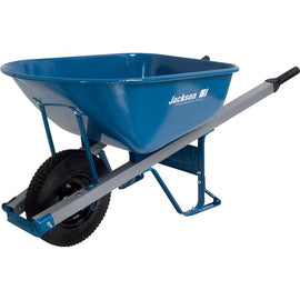 Jackson 6 cu. ft. Heavy Gauge Seamless Steel Wheelbarrow with Steel Handles