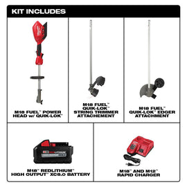 M18 FUEL 18-Volt Lithium-Ion Brushless Cordless String Trimmer Kit with M18 FUEL Edger Attachment
