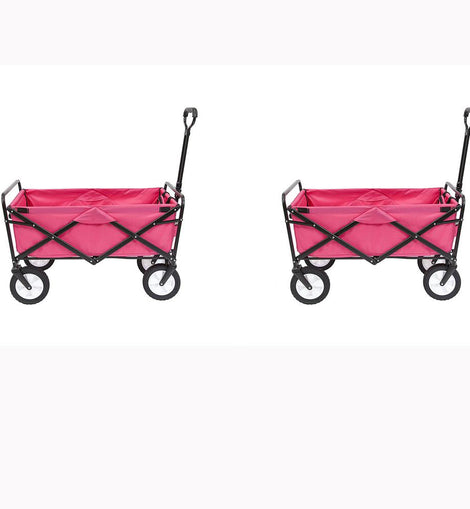 Mac Sports Collapsible Folding Outdoor Garden Utility Wagon Cart, Pink (2-Pack)