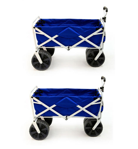 Mac Sports Collapsible Folding All Terrain Beach Utility Wagon Cart (2-Pack)
