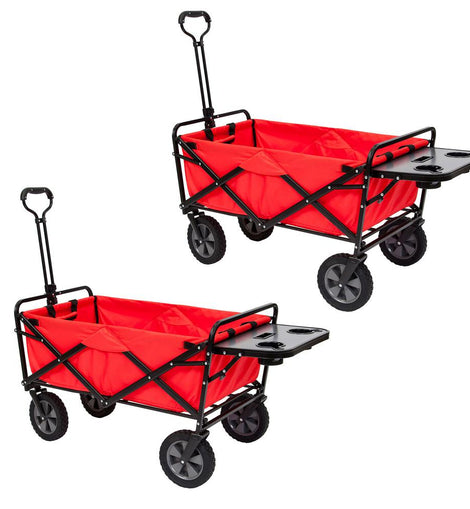 Mac Sports Collapsible Folding Outdoor Utility Wagon Cart w/ Table, Red (2-Pack)