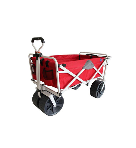 Mac Sports Folding Heavy-Duty All Terrain Beach Wagon with Side Table, Red Grey