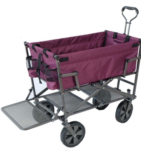 Mac Sports Heavy-Duty Steel Double Decker Collapsible Yard Cart Wagon, Purple