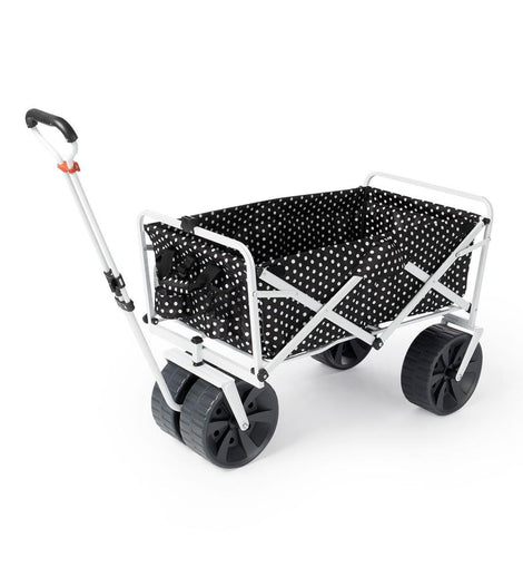 Mac Sports Heavy-Duty All Terrain Folding Multi Utility Beach Wagon, Black Dots
