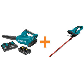 Makita 18-Volt X2 (36-Volt) LXT Lithium-Ion Brushless Cordless Blower Kit (5.0Ah) with Bonus Cordless 22 in. Hedge Trimmer