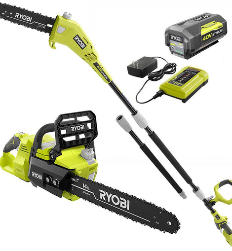 RYOBI 14 in. 40-Volt Brushless Lithium-Ion Cordless Chainsaw and 10 in. Cordless Pole Saw, 4 Ah Battery and Charger Included