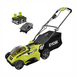 RYOBI 16 in. One+ 18-Volt Lithium-Ion Hybrid Walk Behind Push Lawn Mower - Two 4.0 Ah Batteries/Charger Included