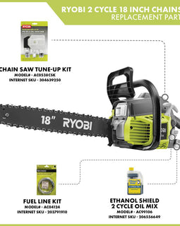 RYOBI 18 in. 38cc 2-Cycle Gas Chainsaw with Heavy Duty Case
