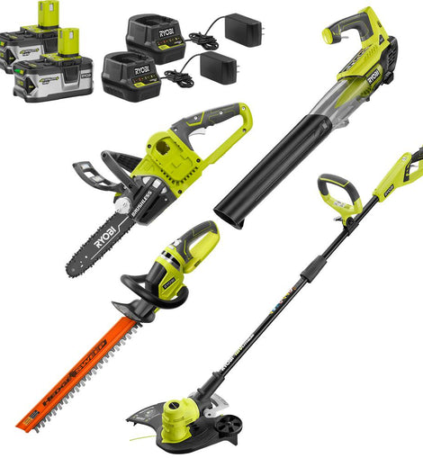 RYOBI ONE+ 18-Volt Cordless String Trimmer+Edger/Blower/Hedge Trimmer/Chainsaw Combo Kit (2) 4.0Ah Batteries/Chargers Included