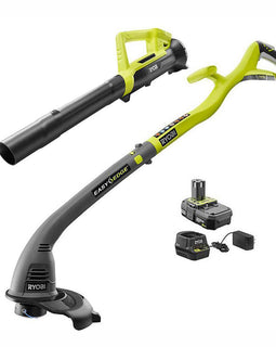 RYOBI ONE+ 18-Volt Lithium-Ion String Trimmer/Edger and Blower Combo Kit 2.0 Ah Battery and Charger Included
