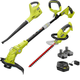 RYOBI ONE+ 18-Volt Lithium-Ion Cordless Trimmer/Blower/Hedge Combo Kit - Two 1.3Ah Batteries and Charger Included