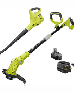RYOBI ONE+ 18-Volt Lithium-Ion String Trimmer/Edger and Blower/Sweeper Combo Kit - 2.6Ah Battery and Charger Included