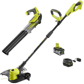 RYOBI ONE+ 18-Volt Lithium-Ion Cordless String Trimmer/Edger and Jet Fan Blower Combo Kit - 4.0 Ah Battery/Charger Included