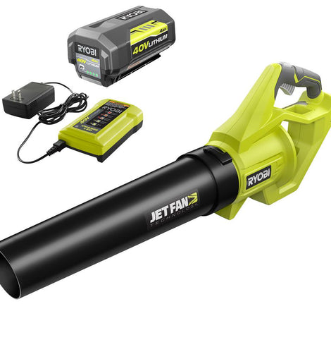RYOBI Reconditioned 110 MPH 500 CFM 40-Volt Lithium-Ion Cordless Variable-Speed Jet Fan Leaf Blower, 4.0Ah Battery and Charger
