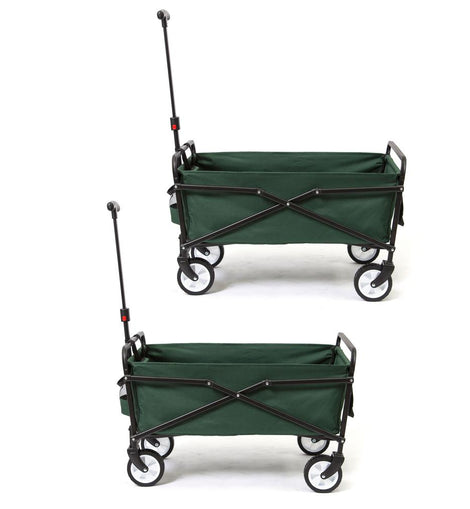 SEINA 150 lbs. Capacity Heavy-Duty Compact Folding Utility Cart in Green (2-Pack)