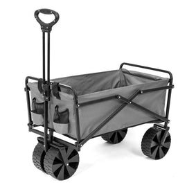 SEINA 150 lbs. Capacity Manual Folding Utility Beach Wagon Outdoor Cart in Gray