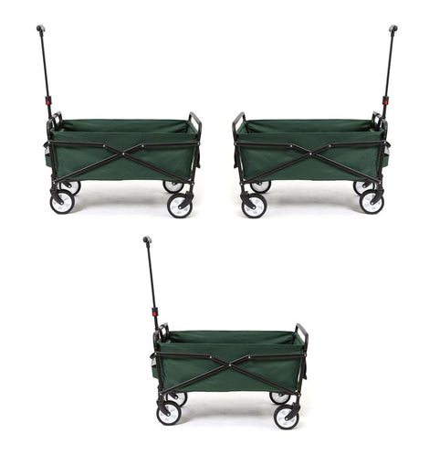 SEINA 150 lbs. Capacity Heavy-Duty Compact Outdoor Utility Cart in Green (3-Pack)